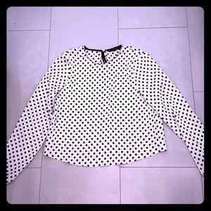 White Zara silk blouse with black polka dots